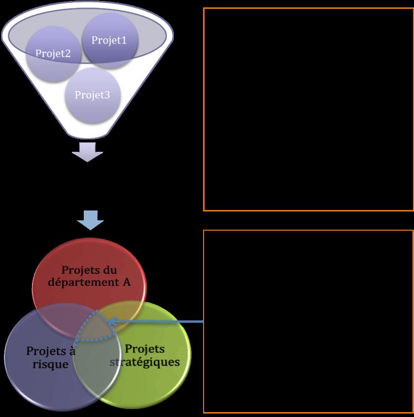 Principe de fonctionnement de l'outil de pilotage du portefeuille de projets: exemple de vue